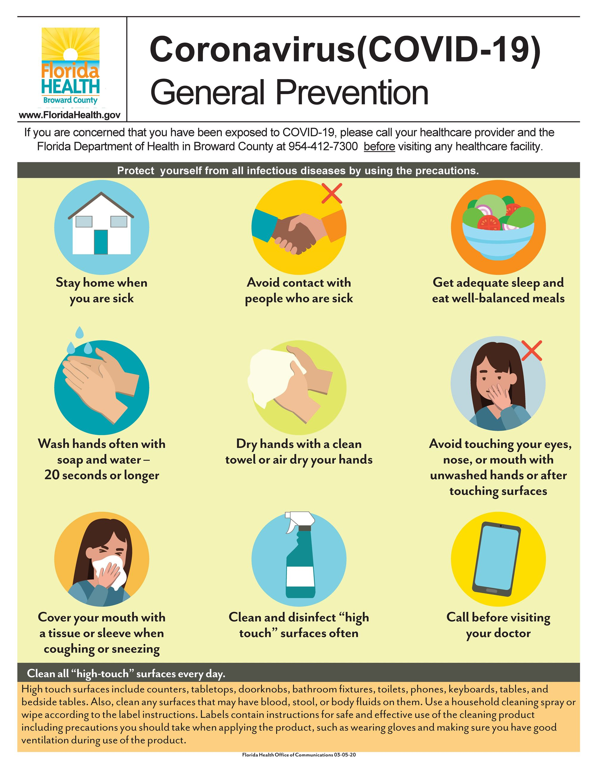 Florida Health COVID 19 Flyer General Prevention
