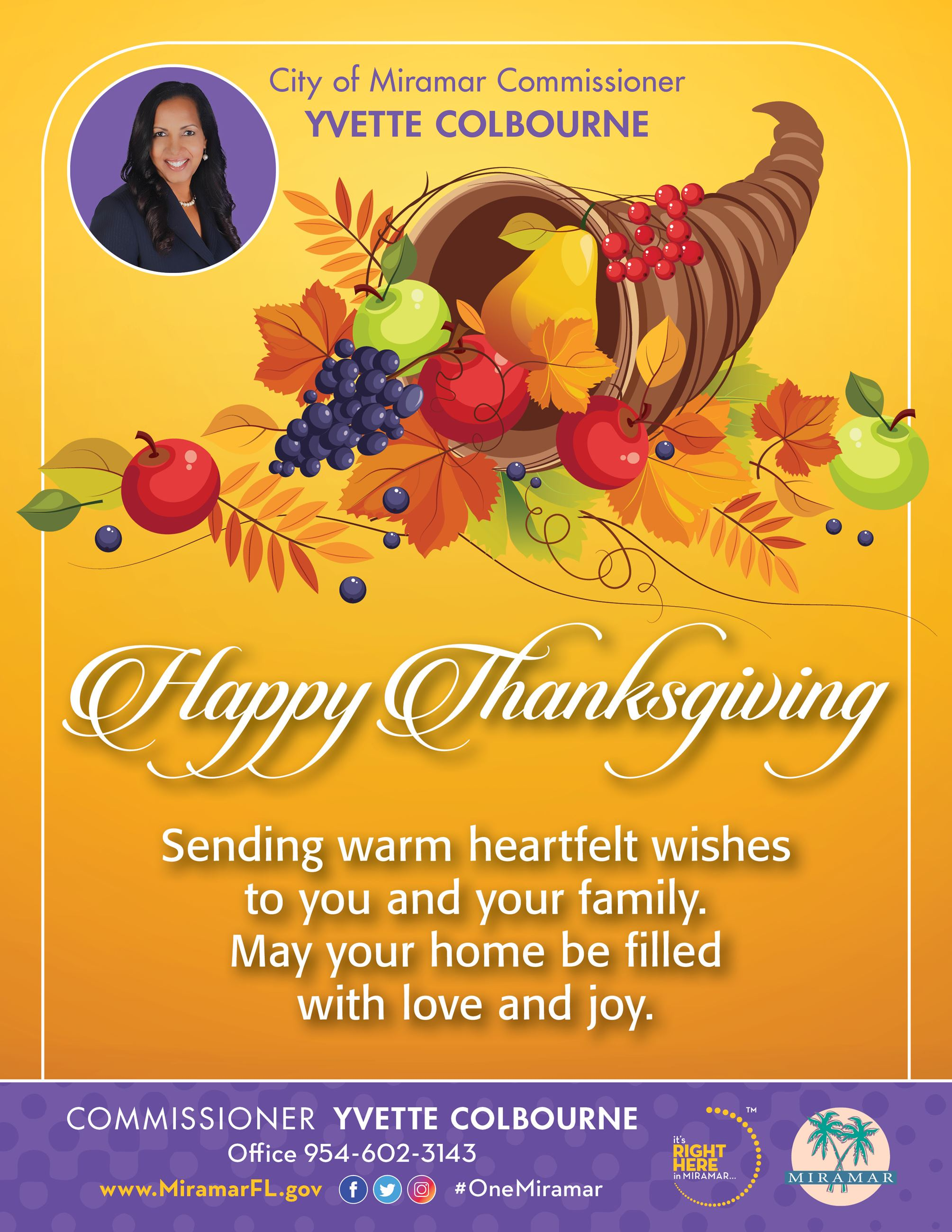 Colbourne Happy Thanksgiving 8.5x11 Flyer 11.25